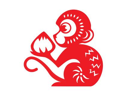 Illustration pour Red paper cut a monkey zodiac symbols monkey holding peach - image libre de droit