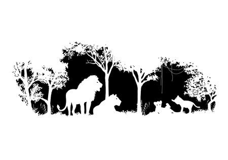 animal of wildlife Lion  shadow vector design