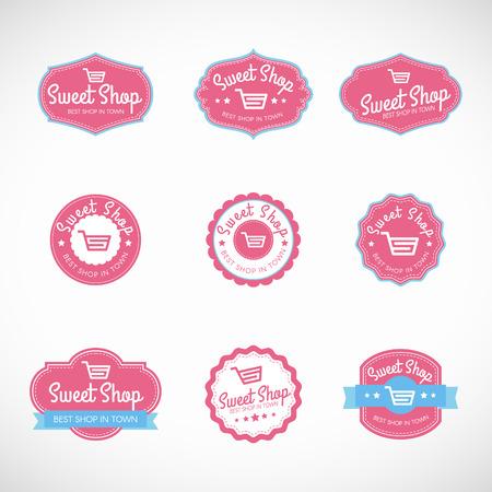 Pink Sweet shop and shopping cart banner vector vintage logo