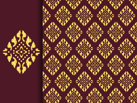 Asian traditional art Design Vector, Thai traditional design  Lai Thai pattern