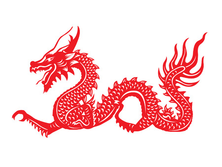 Red paper cut a Dragon china symbols