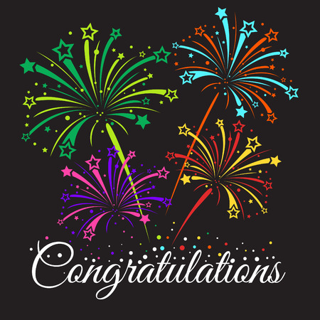 Illustration pour Congratulations text and star fireworks abstract vector - image libre de droit