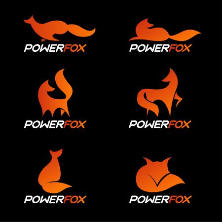 Orange power fox logo vector set design: Royalty-free vector
