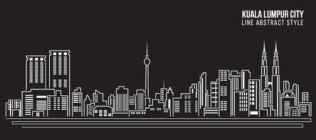 Foto de Cityscape Building Line art Vector Illustration design - Kuala Lumpur city - Imagen libre de derechos