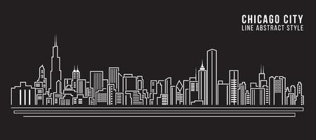 Illustration for Cityscape Building Line art Vector Illustration design - Chicago city - Royalty Free Image
