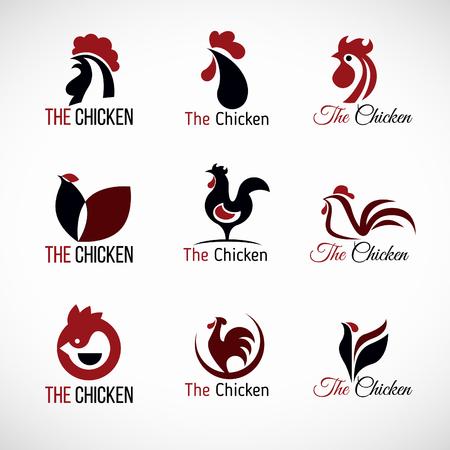 Illustration pour Black red and brown Chicken logo vector set design - image libre de droit