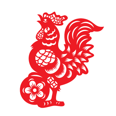 Illustration for Red paper cut a chicken zodiac and flower symbols - Royalty Free Image