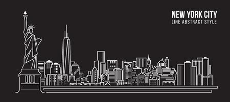 Ilustración de Cityscape Building Line art Vector Illustration design - new york city - Imagen libre de derechos