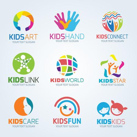 Illustration for Kids child logo vector set design - Royalty Free Image