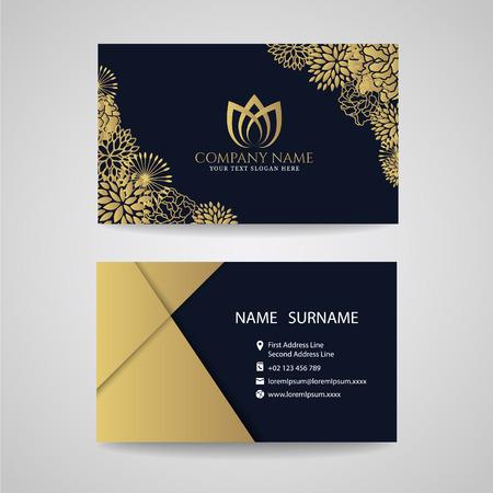 Illustration pour Business card - gold floral frame and lotus logo and gold paper on dark blue background - image libre de droit