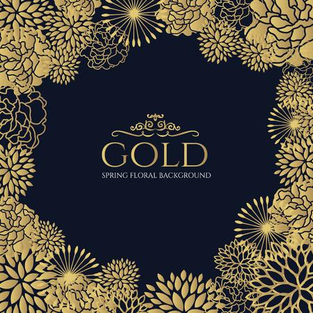 Gold floral frame on dark blue background vector art design