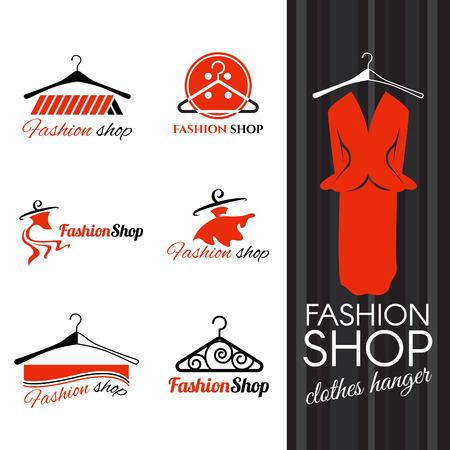 Illustration for Fashion shop logo - Clothes hanger and studs dress vector design - Royalty Free Image