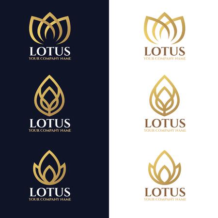 Ilustración de Gold lotus logo symbols on white and dark blue background vector design - Imagen libre de derechos
