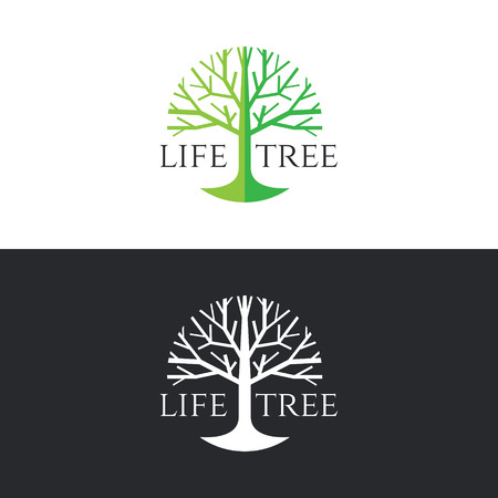 Illustration pour Life tree logo circle vector design - green tree tone on white background and white tree on dark grey background - image libre de droit