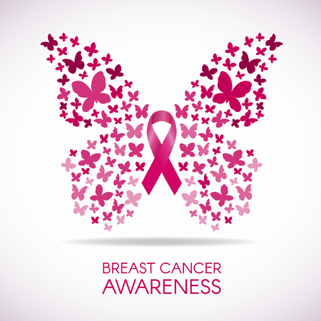 Illustration pour Breast cancer awareness with Butterfly sign and pink ribbon vector illustration - image libre de droit