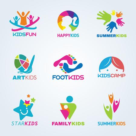 Illustration pour Kids child art and fun logo vector set design - image libre de droit