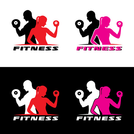 Foto de Fitness logo vector - Man and woman holding a dumbbell. - Imagen libre de derechos