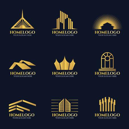 Illustration pour Golden home logo vector set design - image libre de droit