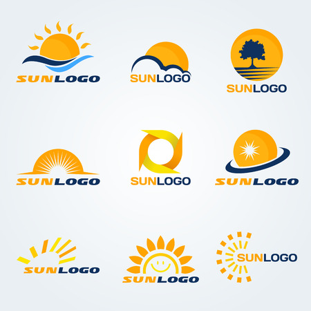 Sun logo (have Trees, clouds and water to composition) set art design
