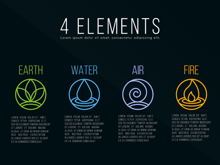Illustration for Nature 4 elements circle sign. Water, Fire, Earth, Air. on dark background. - Royalty Free Image