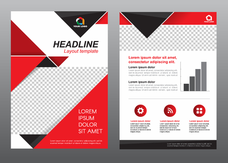 Ilustración de Layout template size A4 cover page red and black tone design - Imagen libre de derechos
