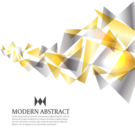 Illustration pour Gold and silver modern triangle art abstract background vector design - image libre de droit