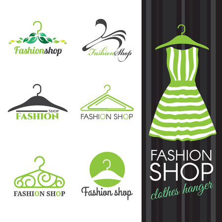 Ilustración de Fashion shop logo - Green Clothes hanger vector set design - Imagen libre de derechos