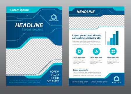 Illustration pour Layout flyer template size A4 cover page blue line art Vector design - image libre de droit