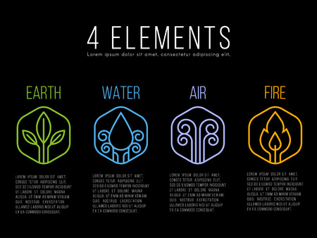Illustration pour Nature 4 elements circle logo sign. Water, Fire, Earth, Air. on hexagon - image libre de droit