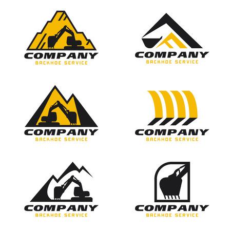 Illustration for Yellow and black Backhoe service logo vector set design - Royalty Free Image