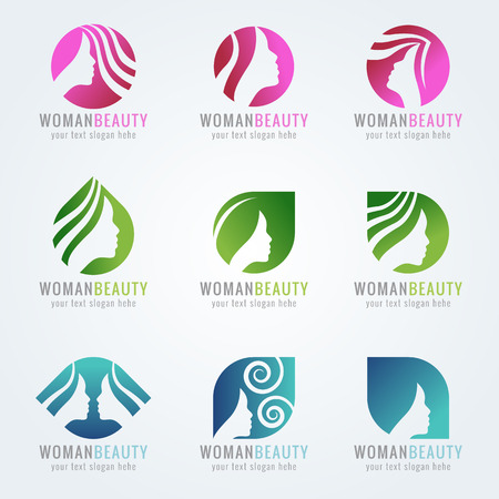 Illustration for Woman beauty face and hair logo vector set design - Royalty Free Image