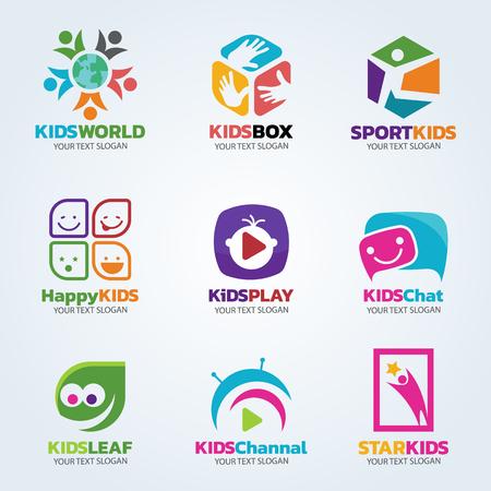 Illustration pour Kids logo for business vector art set design - image libre de droit