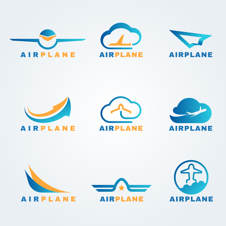 Ilustración de Rocket and air plane logo vector set design - Imagen libre de derechos