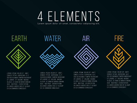 Illustration for Nature 4 elements diamond square sign - Royalty Free Image