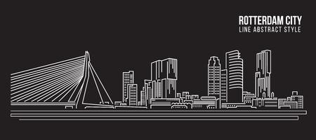 Illustration pour Cityscape Building Line art Illustration design - Rotterdam City - image libre de droit