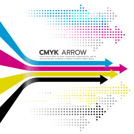 Ilustración de CMYK (cyan and magenta and yellow and key or black) arrow line and dot arrow art design - Imagen libre de derechos