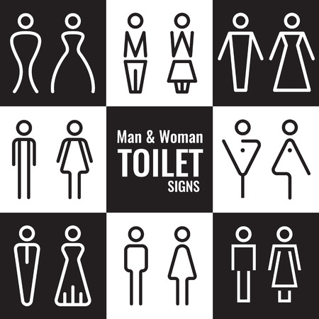Illustration for Man and Woman Toilet line sign vector set design - Royalty Free Image