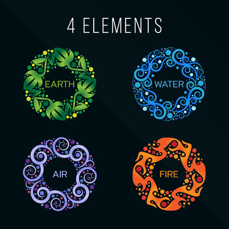 Illustration pour Nature 4 elements circle abstract sign. Water, Fire, Earth, Air. on dark background. - image libre de droit