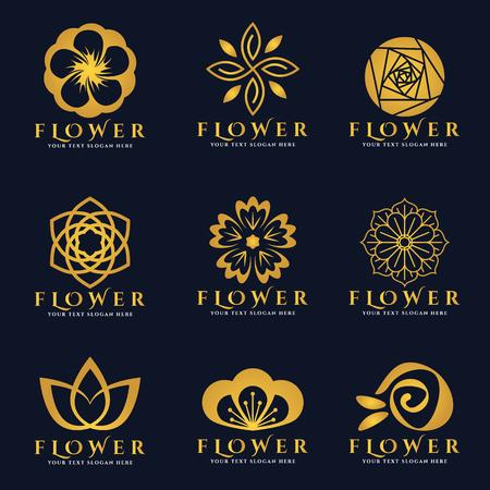 Ilustración de Gold Flower logo vector set art design - Imagen libre de derechos