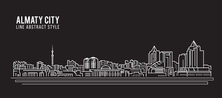Illustration for Cityscape Building Line art Vector Illustration design - Almaty city - Royalty Free Image