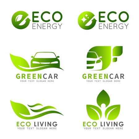Illustration for Green ECO logo with e letter , leaf and car vector set design - Royalty Free Image