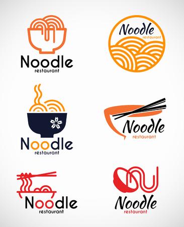 Noodle restaurant and food logo vector design