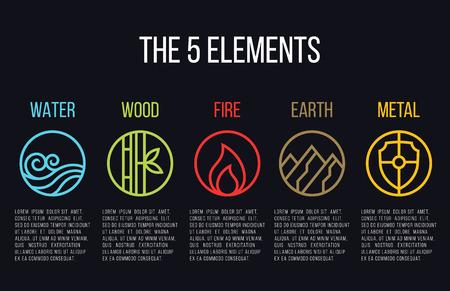 Ilustración de 5 elements of nature circle line icon sign. Water, Wood, Fire, Earth, Metal. on dark background. - Imagen libre de derechos