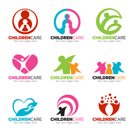 Children care and family care logo vector set design.