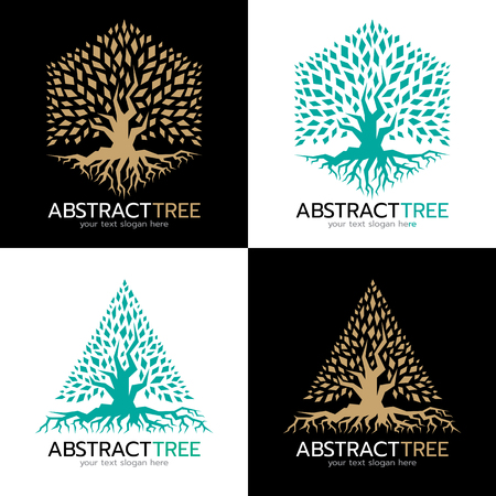 Illustration pour Green and gold Hexagonal and triangle abstract tree logo vector art design - image libre de droit