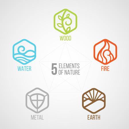Ilustración de 5 elements of nature Hexagon line icon sign. Water, Wood, Fire, Earth, Metal. on dark background. - Imagen libre de derechos