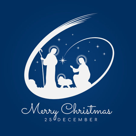 Illustration for Merry Christmas banner sign with Nightly christmas scenery mary and joseph in a manger with baby Jesus and Meteor on blue background vector design - Royalty Free Image