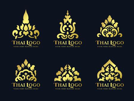 Illustration pour Gold thai art traditional lotus flower logo vector set design - image libre de droit