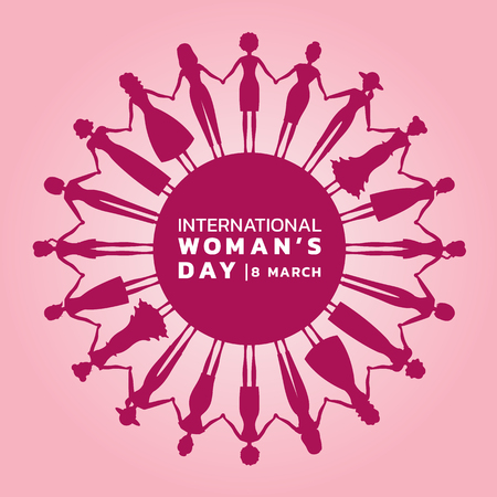 Illustration pour International Women's day with pink purple Woman's holding hands to circle banner vector design. - image libre de droit