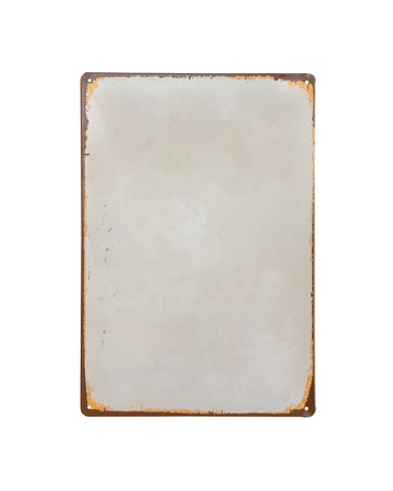 Foto de vintage old white Sheet metal banner isolate on white background - Imagen libre de derechos